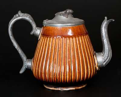 Frederick H. Mear, Boston Rockingham-Glazed Teapot w/ Pewter Fittings