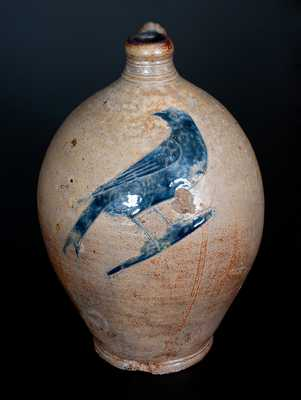 Outstanding New York City Stoneware Jug w/ Large Incised Bird