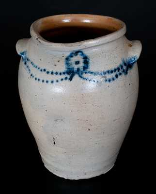 Very Rare Morgan Maker (Baltimore) Stoneware Jar w/ Slip-Trailed Cobalt Floral Decoration