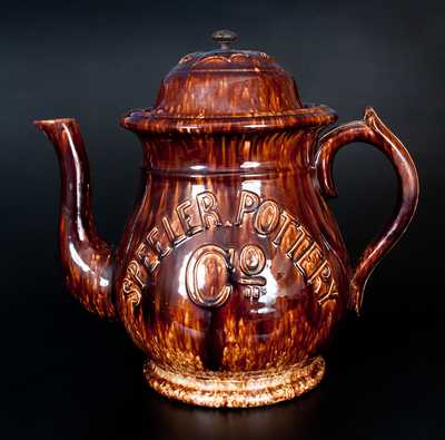Important SPEELER POTTERY (Trenton, NJ) Store Display Teapot w/ Boston Advertising