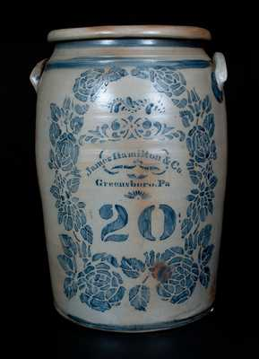 20 Gal. JAMES HAMILTON & CO. / Greensboro, PA Stoneware Jar w/ Profuse Stenciled Rose Decoration