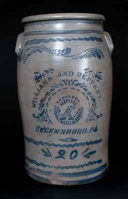 20 Gal. WILLIAMS & REPPERT / GREENSBORO, PA Stoneware Jar w/ Stenciled Eagle and Freehand Decoration