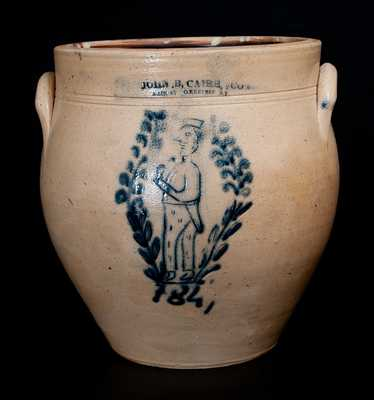 Extremely Rare JOHN B. CAIRE (Poughkeepsie) Incised Gentleman w/ Drinking Glass Stoneware Jar, 1841