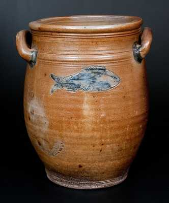 Rare Boston Stoneware Jar w/ Impressed Fish Decoration, circa 1795