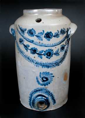 Very Rare Henry H. Remmey, Philadelphia Stoneware Water Cooler w/ Elaborate Floral Decoration