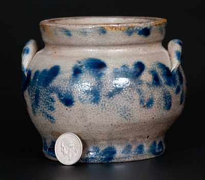 Very Rare Remmey, Philadelphia Stoneware Sugar Bowl w/ Profuse Cobalt Floral Decoration