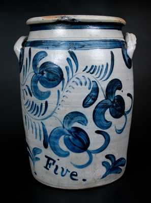 Exceptional Five-Gallon Greensboro, PA Stoneware Jar w/ Profuse Cobalt Fuchsia Decoration