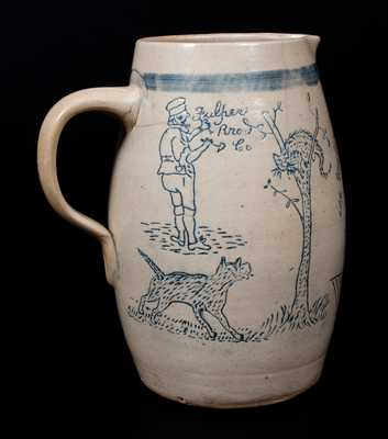 Very Rare Bristol-Glazed Stoneware Pitcher,
