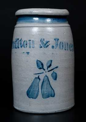 Fine Hamilton & Jones, Greensboro, PA Canning Jar w/ Stenciled Cobalt Pear Decoration
