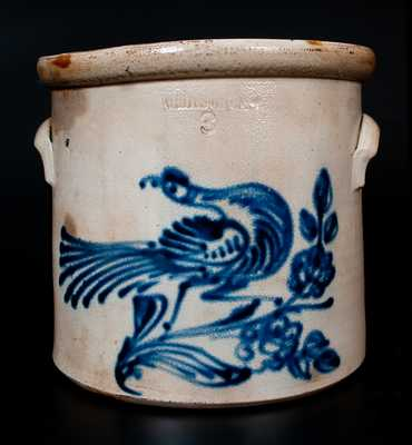 WHITES UTICA Stoneware Crock w/ Elaborate Cobalt Bird and Flowering Vine Decoration
