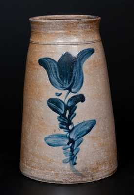 Fine attrib. A. & W. Boughner, Greensboro, PA Stoneware Canning Jar w/ Bold Cobalt Tulip Decoration