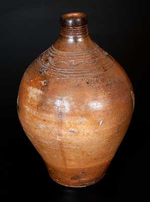 Unusual CHARLESTOWN (Boston) Iron-Dipped Stoneware Jug with Incised Line Decoration