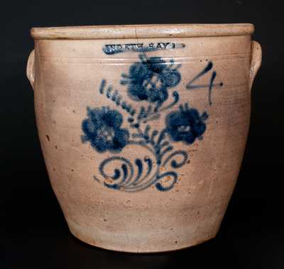 Scarce Four-Gallon NORTH BAY, New York Stoneware Jar with Cobalt Floral Decoration