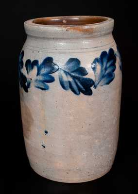Remmey, Philadelphia Stoneware Jar with Brushed Cobalt Leaf