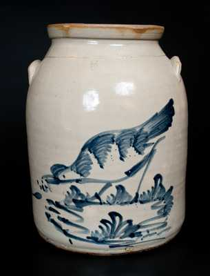 Rare Five-Gallon Elaborate Chicken Crock, attrib. Fulper Pottery, Flemington, NJ