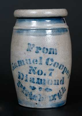 Rare Quart Stoneware Canner w/ Stenciled Samuel Cooper / Pittsburgh Advertising