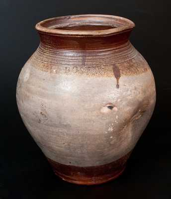 BOSTON Stoneware Jar with Deep Iron-Oxide Dip at Collar and Base, late 18th century