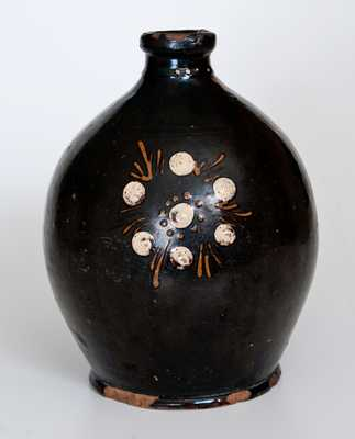 Redware Jug with Multi-Colored Slip Flower Head and Line Decoration att. Alamance County, NC