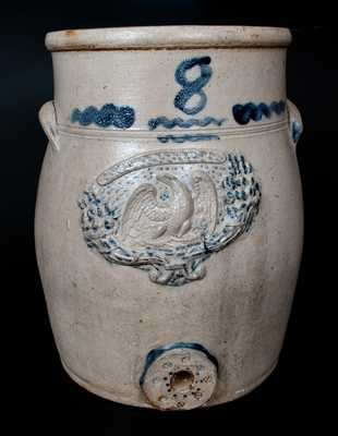 Rare Eight-Gallon Ohio Stoneware Water Cooler with Molded Eagle