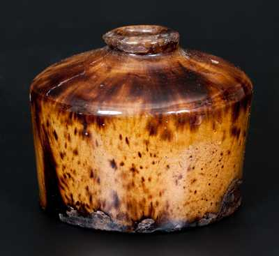Rare and Important Bristol County, Massachusetts Redware Inkwell with Vibrant Glaze