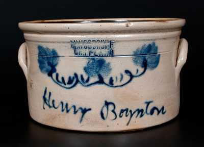 Rare M WOODRUFF / CORTLAND, New York Presentation Cake Crock