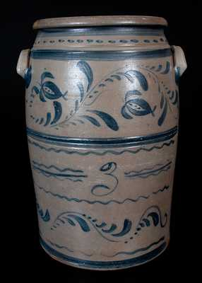 Western PA Stoneware Jar with Brushed Floral Vine and Line Decoration