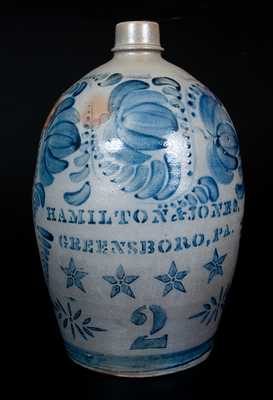 Exceptional HAMILTON & JONES / GREENSBORO, PA Stoneware Jug with Stenciled Stars