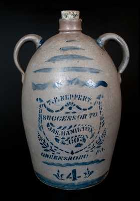 T. F. REPPERT / SUCCESSOR TO / JAS. HAMILTON & CO. / GREENSBORO, PA Stoneware Jug