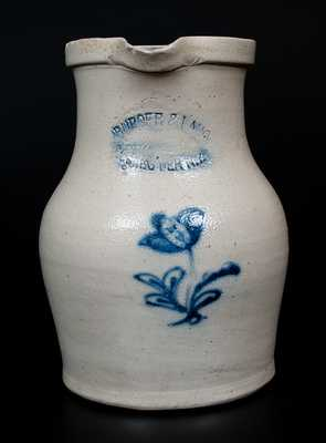 BURGER & LANG / ROCHESTER, NY Stoneware Pitcher w/ Cobalt Floral Decoration