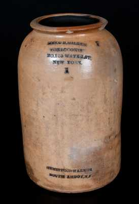 Rare SOUTH AMBOY, NJ Stoneware Advertising Jar for MRS. G. B. MILLER / TOBACCONIST / NEW YORK