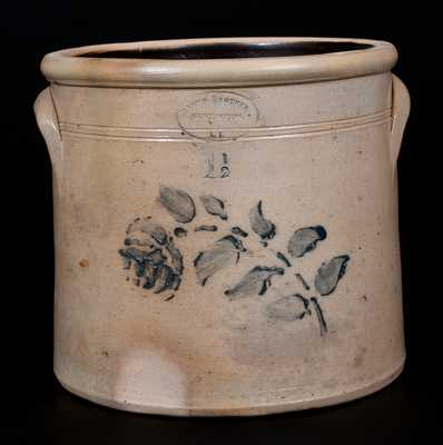 Rare BROWN BROTHERS/ HUNTINGTON / L.I. Stoneware Crock w/ Stenciled Rose Decoration