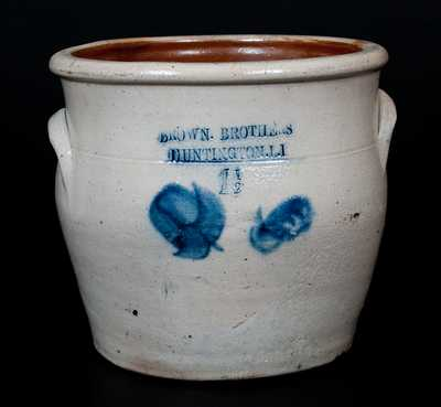 BROWN BROTHERS / HUNTINGTON, L.I. Stoneware Jar with Floral Decoration