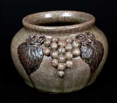 Rare Arie Meaders Stoneware Beanpot with Applied Grapes Decoration
