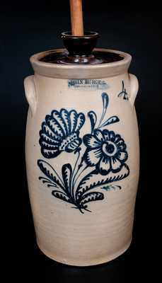 JOHN BURGER / ROCHESTER Stoneware Churn with Slip-Trailed Floral Decoration