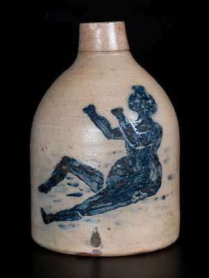 Rare Half-Gallon Stoneware Jug with Detailed Bathing Beauty Decoration