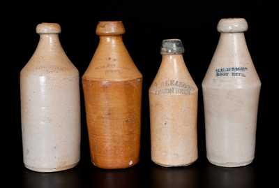 Lot of Four: Stoneware Beer Bottles  incl. F. GLEASON / LEMON BEER Example w/ Cobalt Top