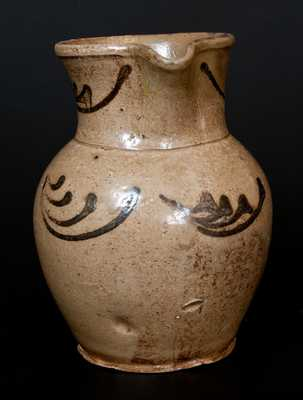 Rare Edgefield, SC Stoneware Pitcher with Alkaline Glaze and Iron-Oxide Designs