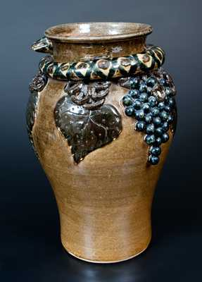 Important Lanier Meaders Vase w/ Snake and Grapes