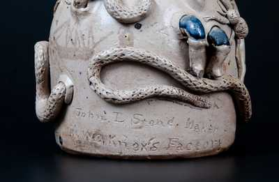 Important Limestone Co, Texas Snake Temperance Jug by John L. Stone, c1870
