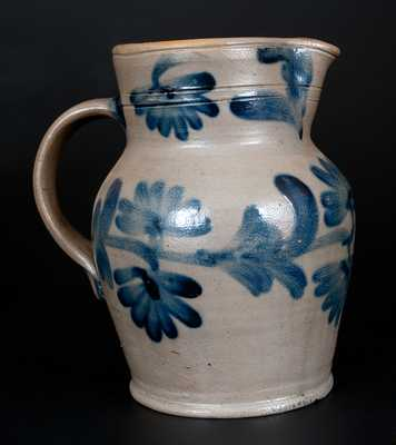 Half-Gallon Remmey, Philadelphia Stoneware Pitcher w/ Cobalt Floral Decoration