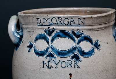 Important D. MORGAN / N. YORK Stoneware Jar w/ Impressed Drape and Tassel Decoration
