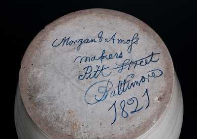 Very Rare Morgan & Amoss/ makers / Pitt Street / Baltimore / 1821 Stoneware Jar