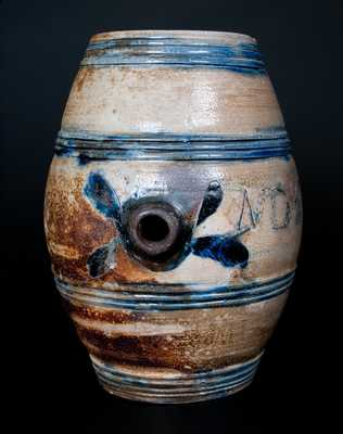 Exceptional Small-Sized Stoneware Keg w/ Incised Leaves Inscribed