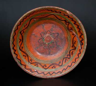 Shenandoah Valley Slip-Decorated Redware Bowl, probably Hagerstown, Maryland