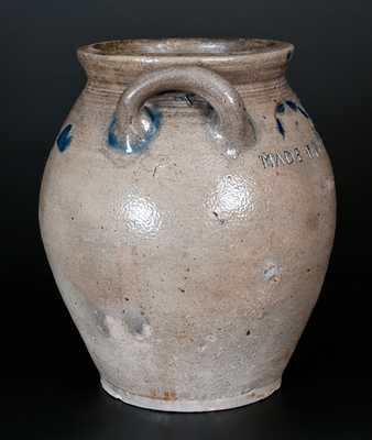 Important MADE BY XERXES PRICE AT S. AMBOY NJ Stoneware Jar w/ Incised Heart and Foliate Designs