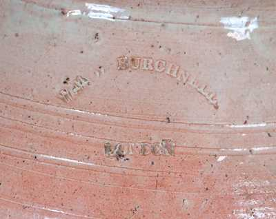 Extremely Rare WM W BURCHNELL / LONDON (Ohio) Redware Jar, Morgantown School