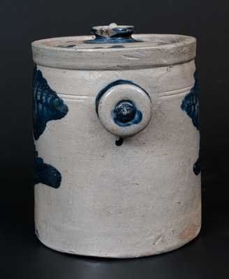 Extremely Rare Baltimore Stoneware Lidded Tobacco Jar w/ Knob Handles and Cobalt Floral Decoration