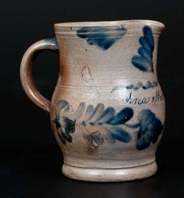 Rare Stoneware Cream Pitcher Inscribed