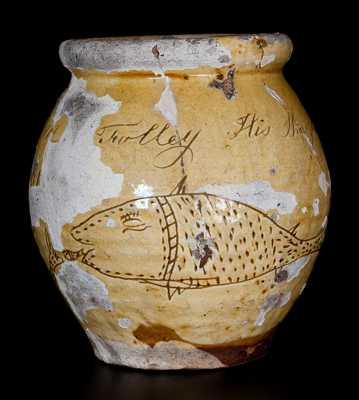 Scarce Sgraffito Redware Sugar Jar with Fish and Bird Decorations, Signed