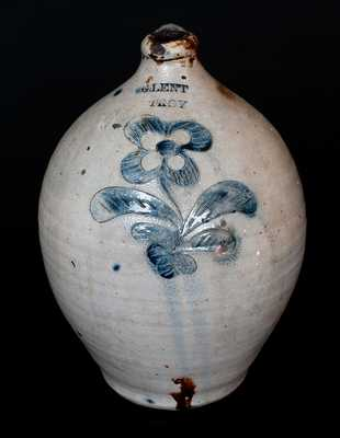 Rare G. LENT / TROY Stoneware Jug with Incised Floral Design